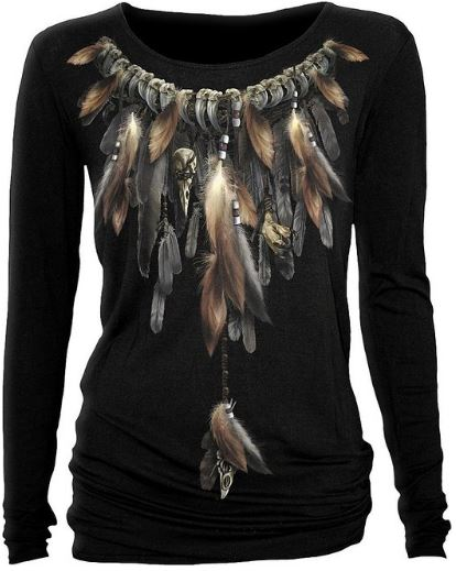 womens native spirit black baggy top